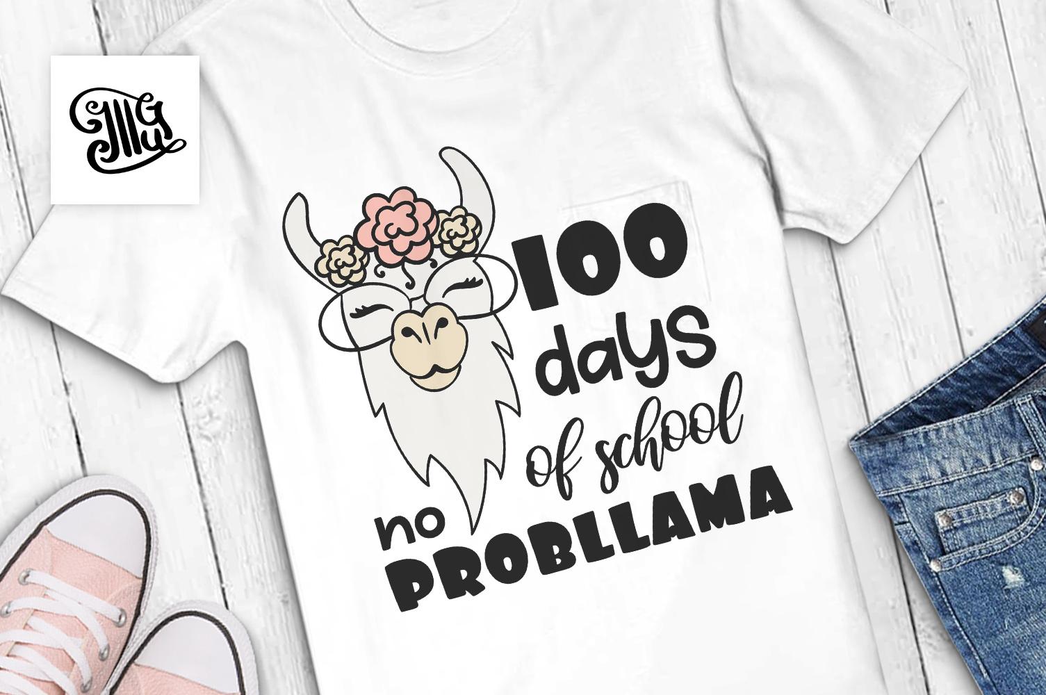 100 days of school no probllama svg example image 1