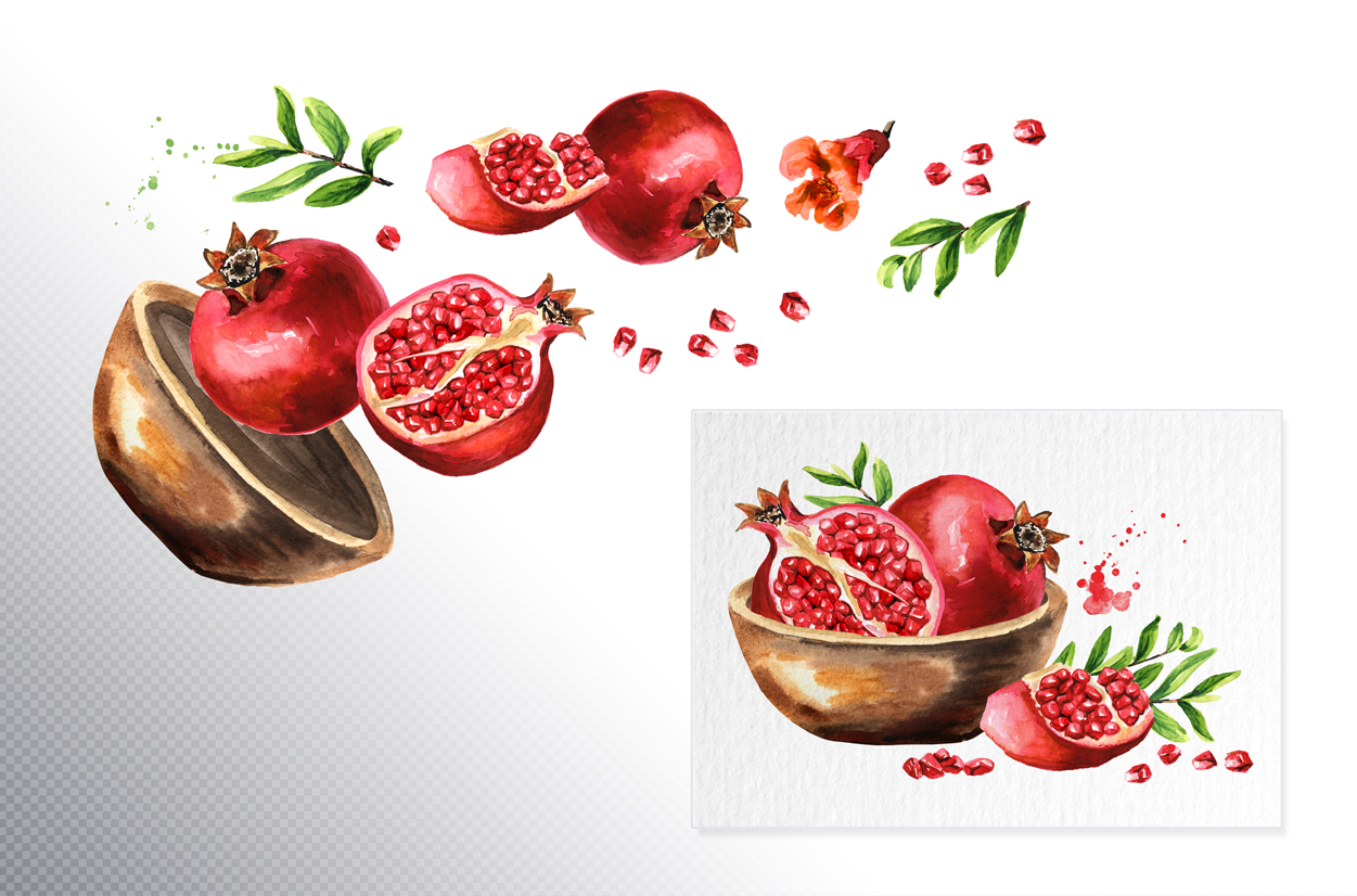 Pomegranate. Watercolor collection example image 3