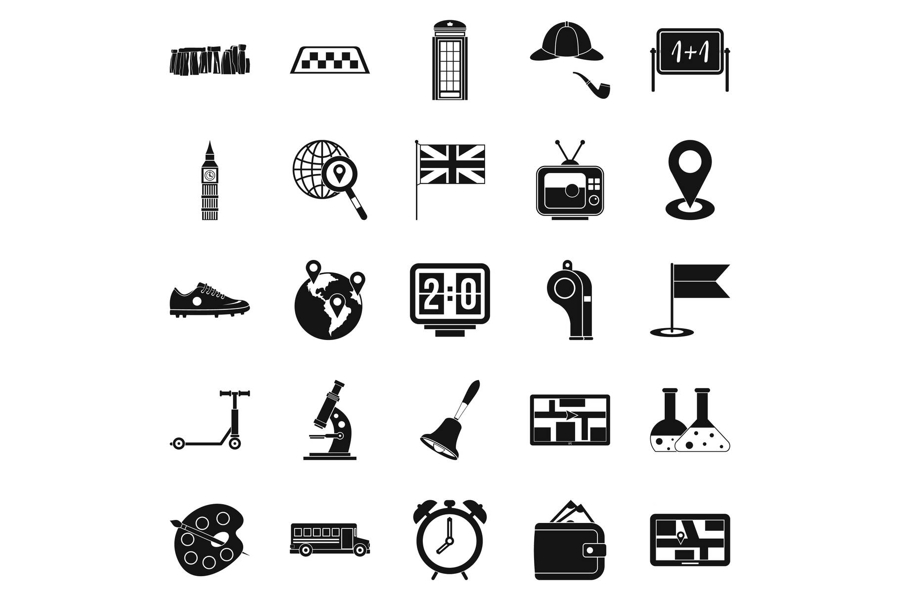 Bus icons set, simple style example image 1