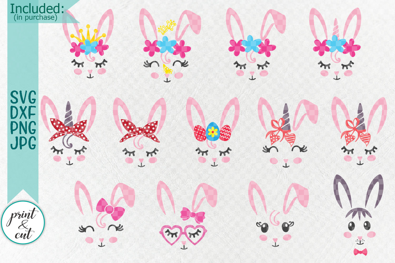 Bunny Rabbit faces Flowers Unicorn Horn Crown Bandana svg example image 2