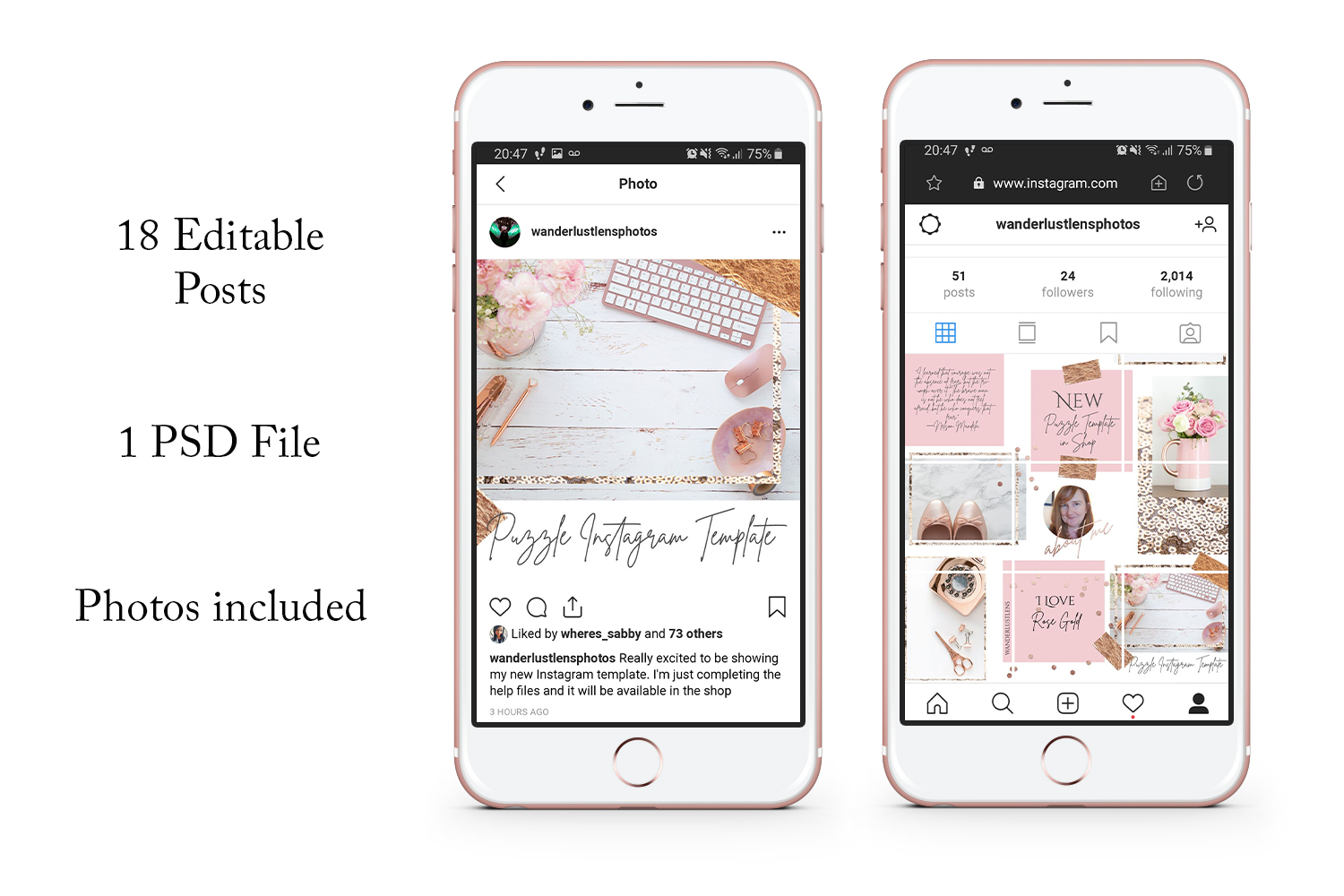 Rose Gold Instagram Puzzle Template - 15 Posts example image 2