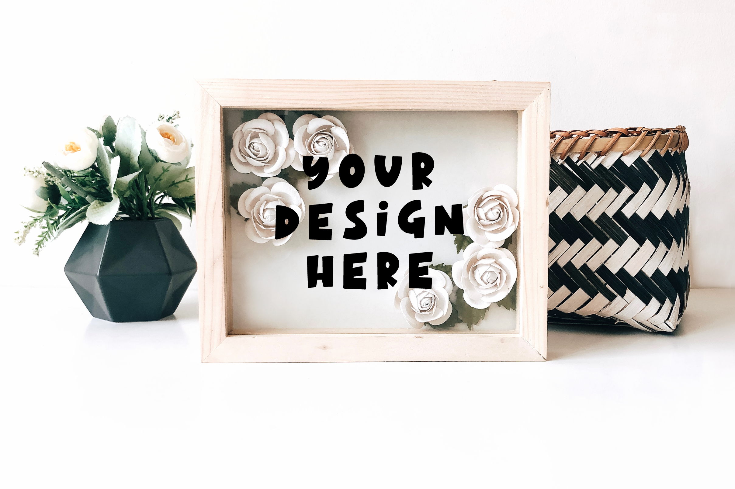 Paper Flower Shadow Box Mock up example image 3