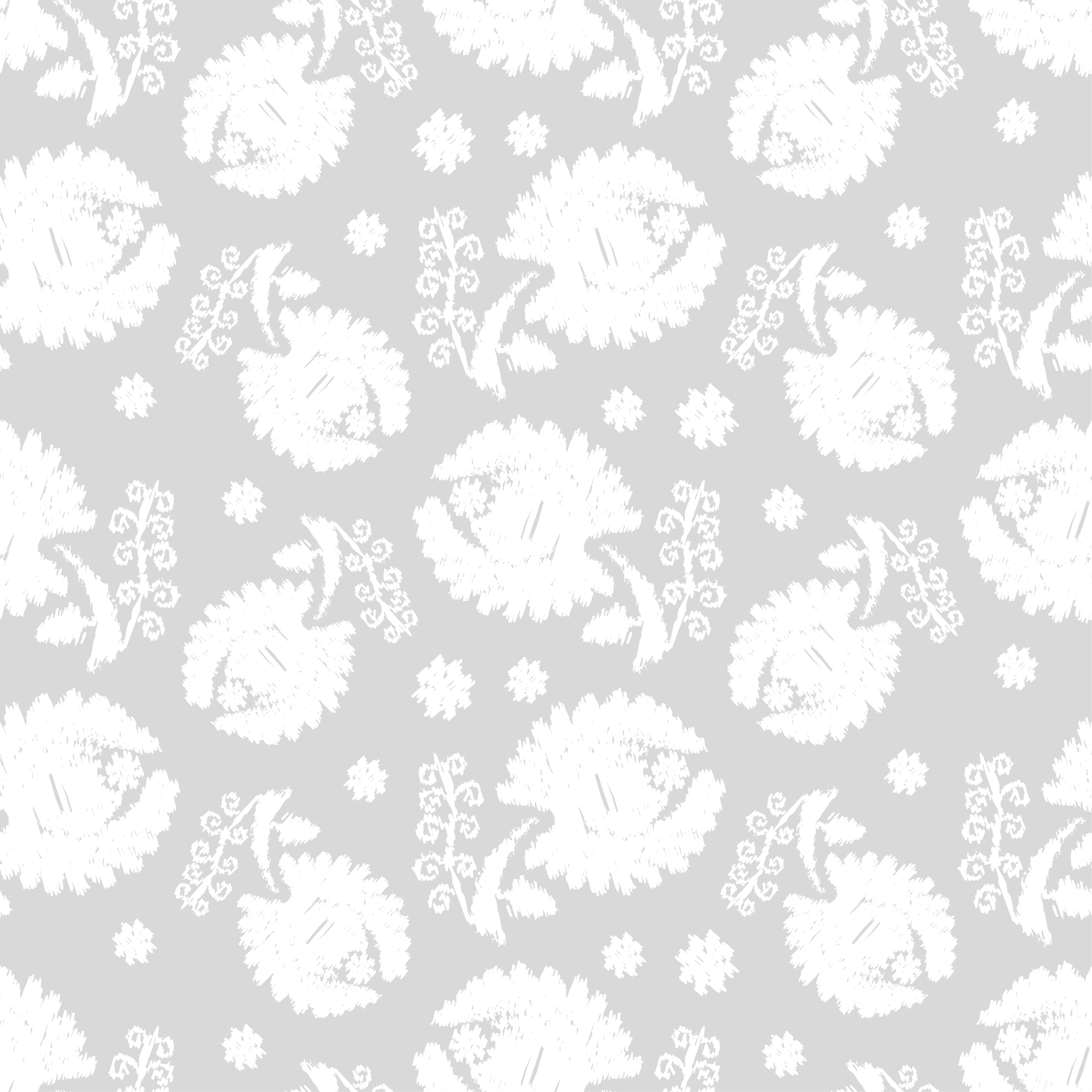 Set of 6 Seamless vector background. White flowers on a gray background. example image 3