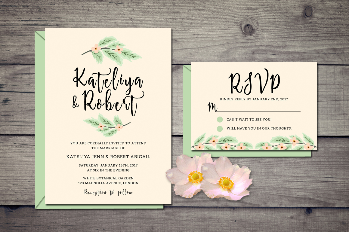 Nature Wedding Invitation Suite example image 2