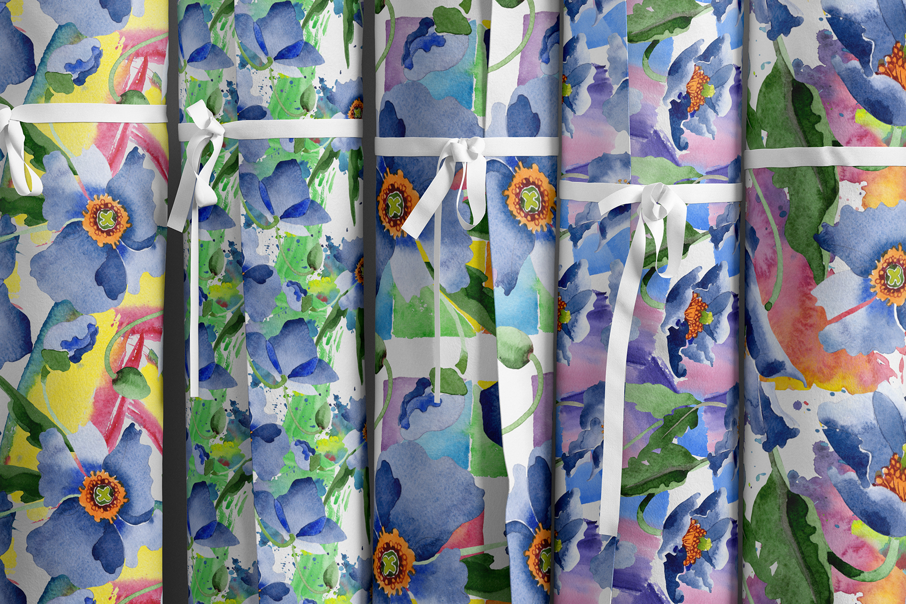 Bouquet of blue poppies Venice watercolor PNG example image 5