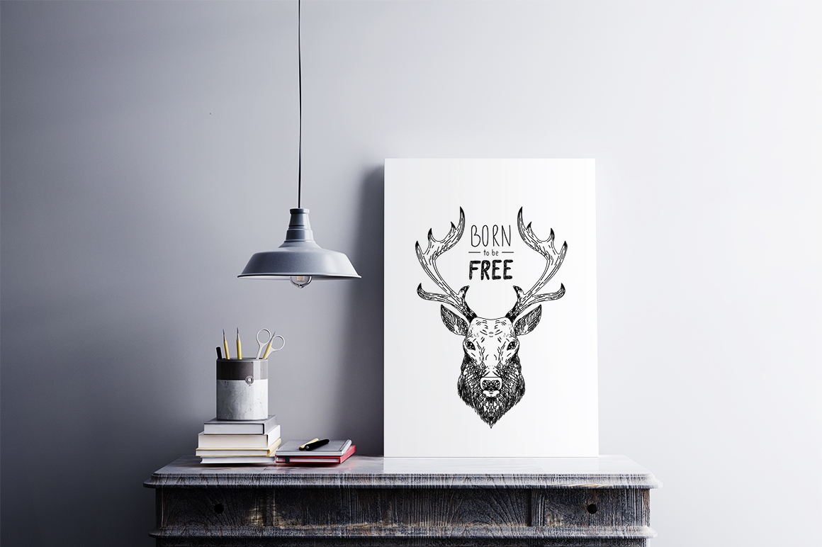 Hand drawn illustration with forest Deer example image 1