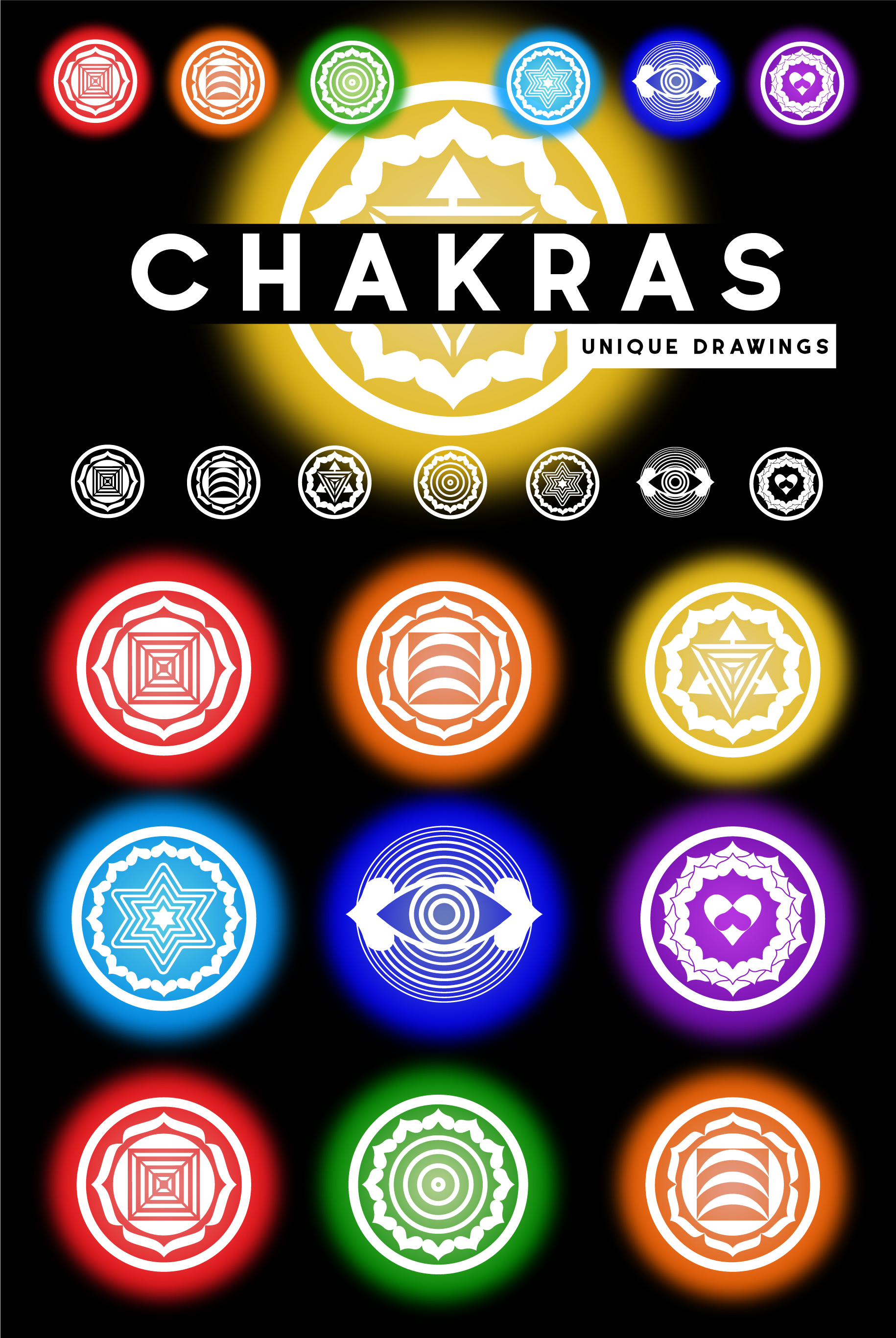 Chakras. Unique drawing. SVG/PNG/AI/JPEG example image 8