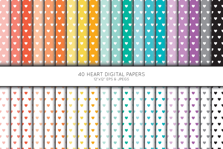 Heart Digital Paper, Heart Scrapbook paper example image 1