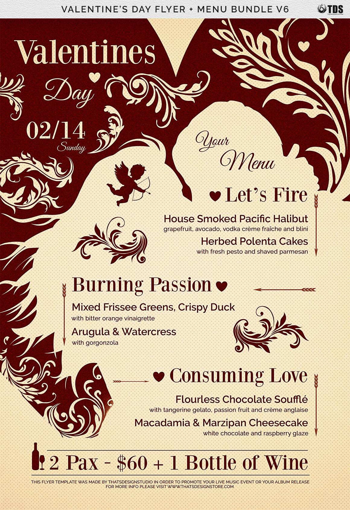 Valentines Day Flyer + Menu Bundle V6 example image 7