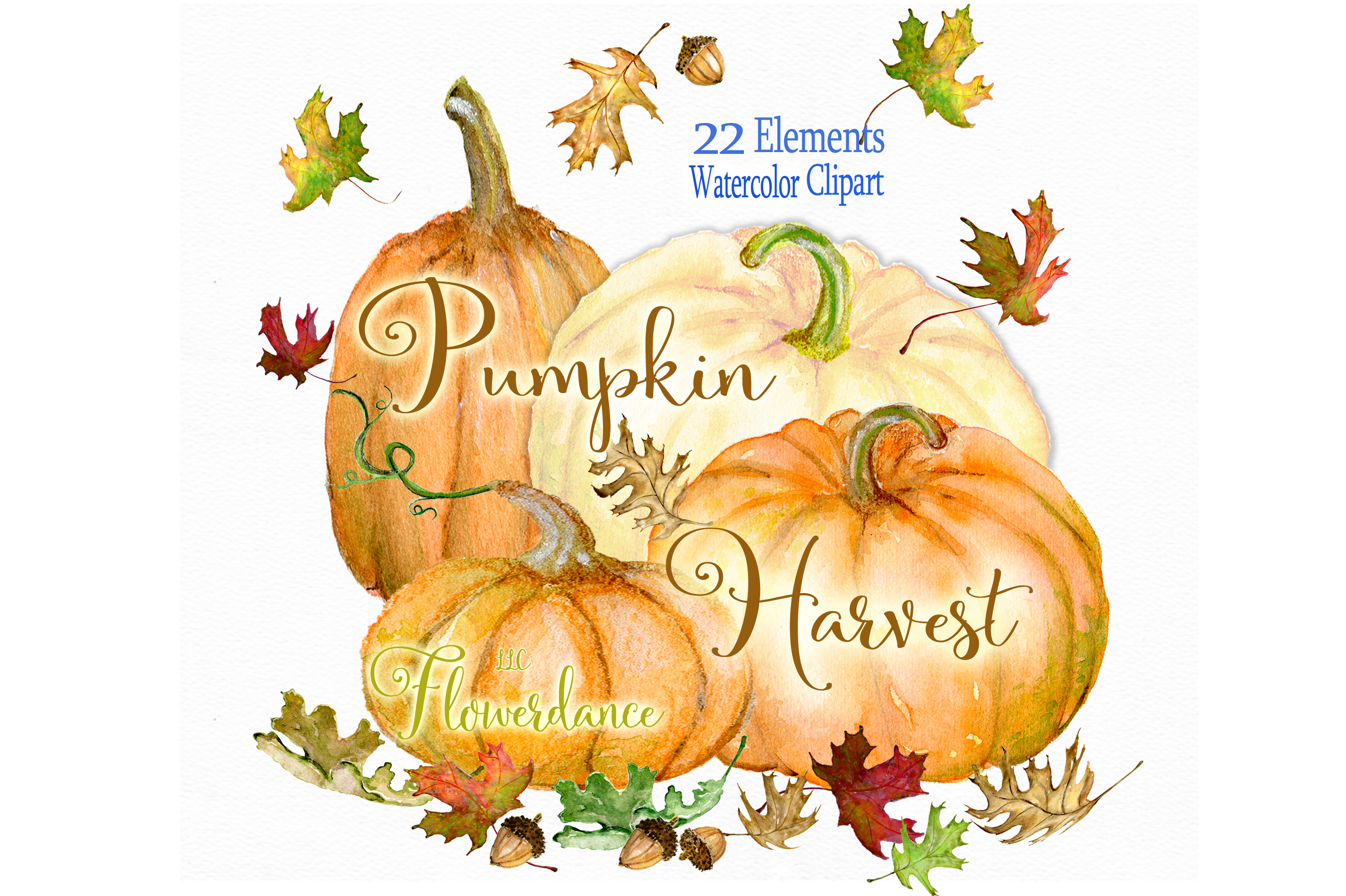 Watercolor Pumpkin Clipart, Fall, Harvest, Transparent PNG example image 1