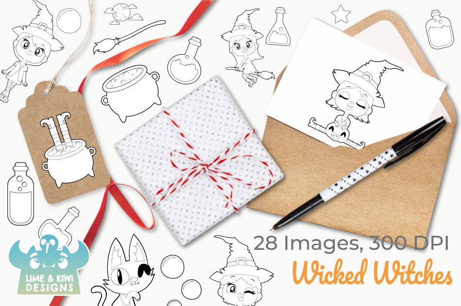 Wicked Witches Digital Stamps, Instant Download Vector Art example image 4