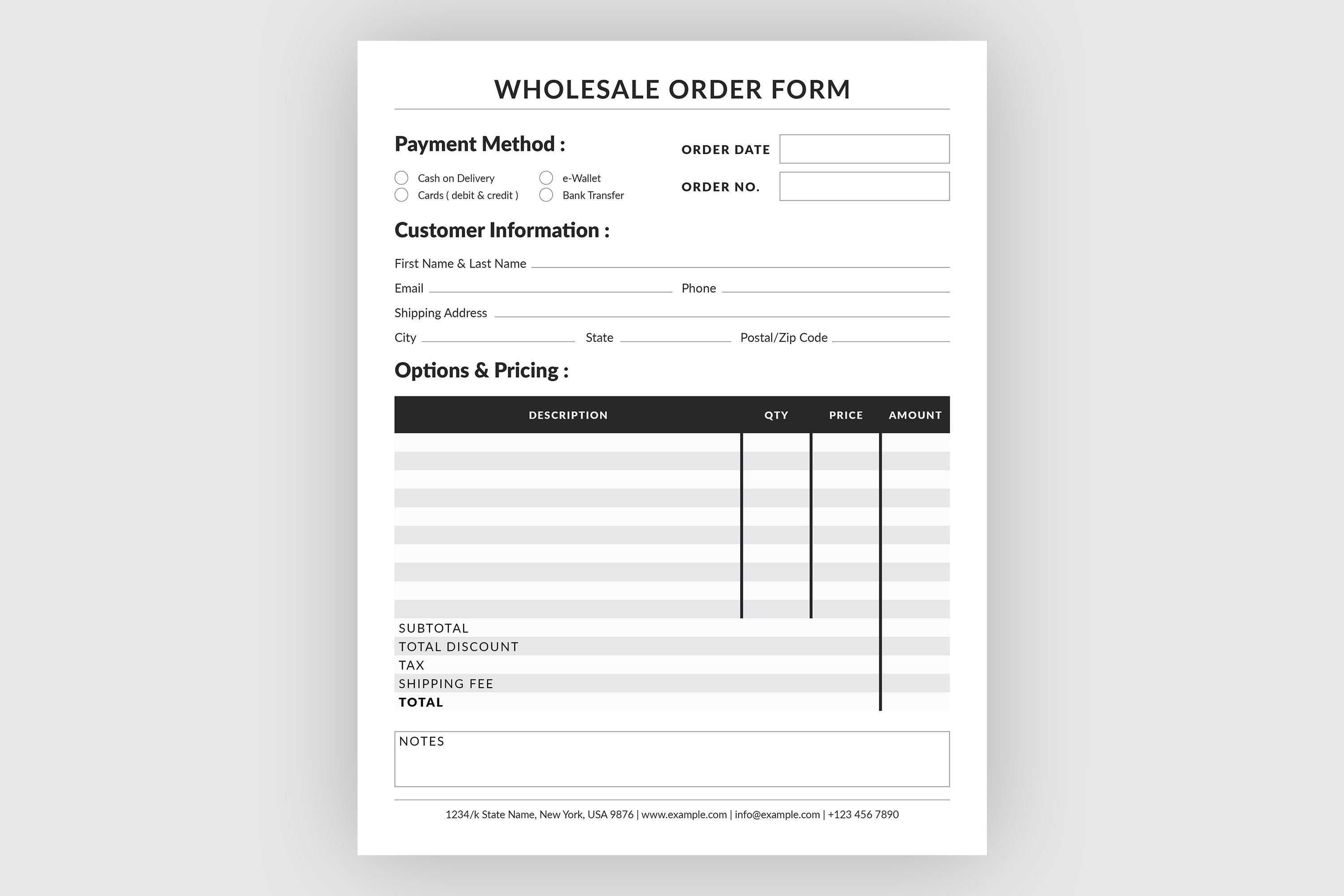 Editable Wholesale Order Form Template example image 3