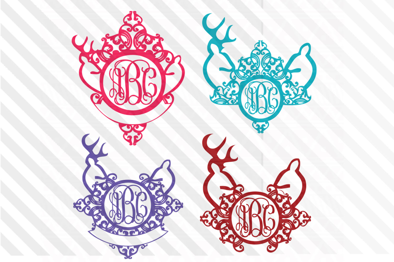 Wedding,Monograms,SVG,deer,Reindeer,Wreath,font,Logo,vector example image 1