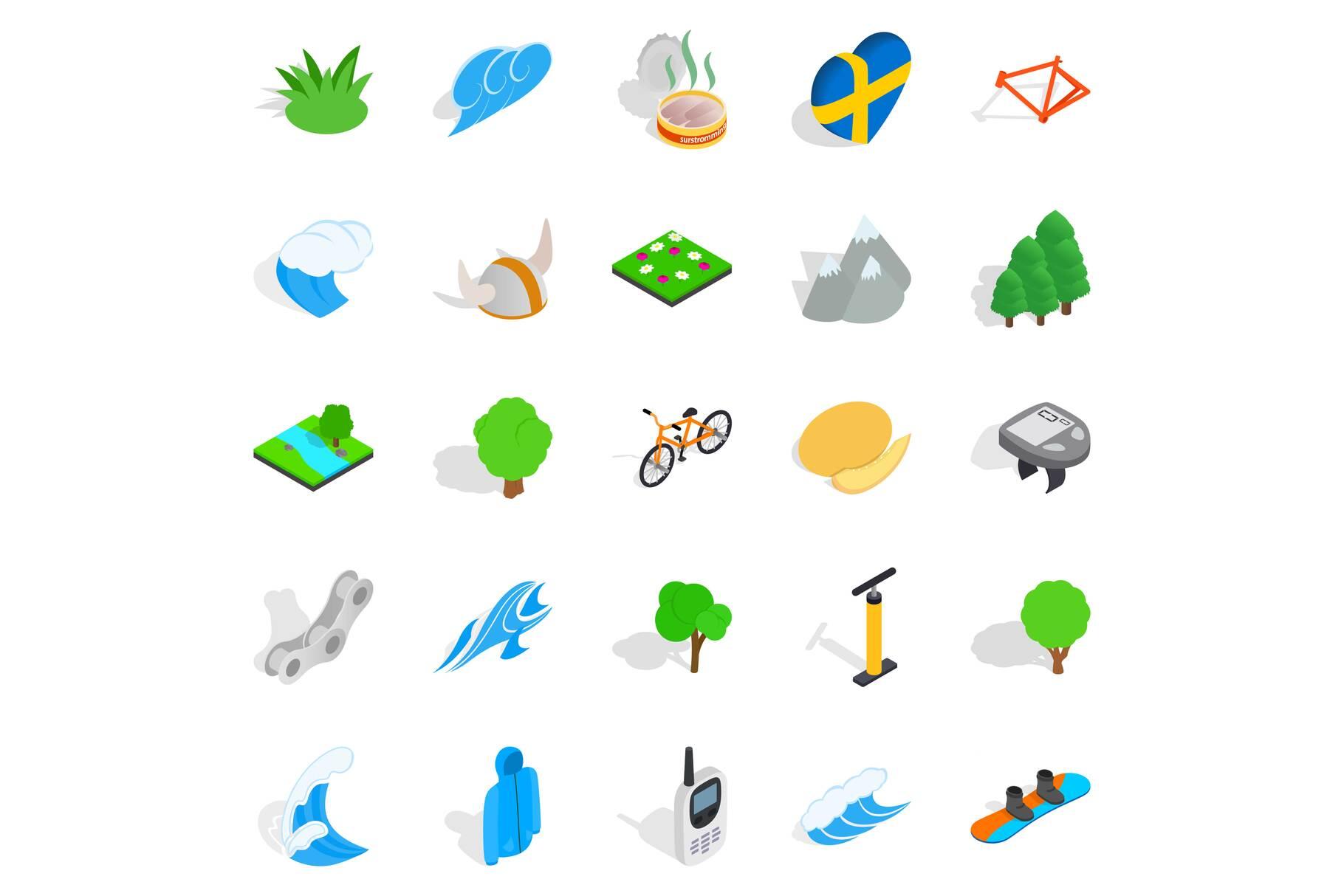 Unity with nature icons set, isometric style example image 1