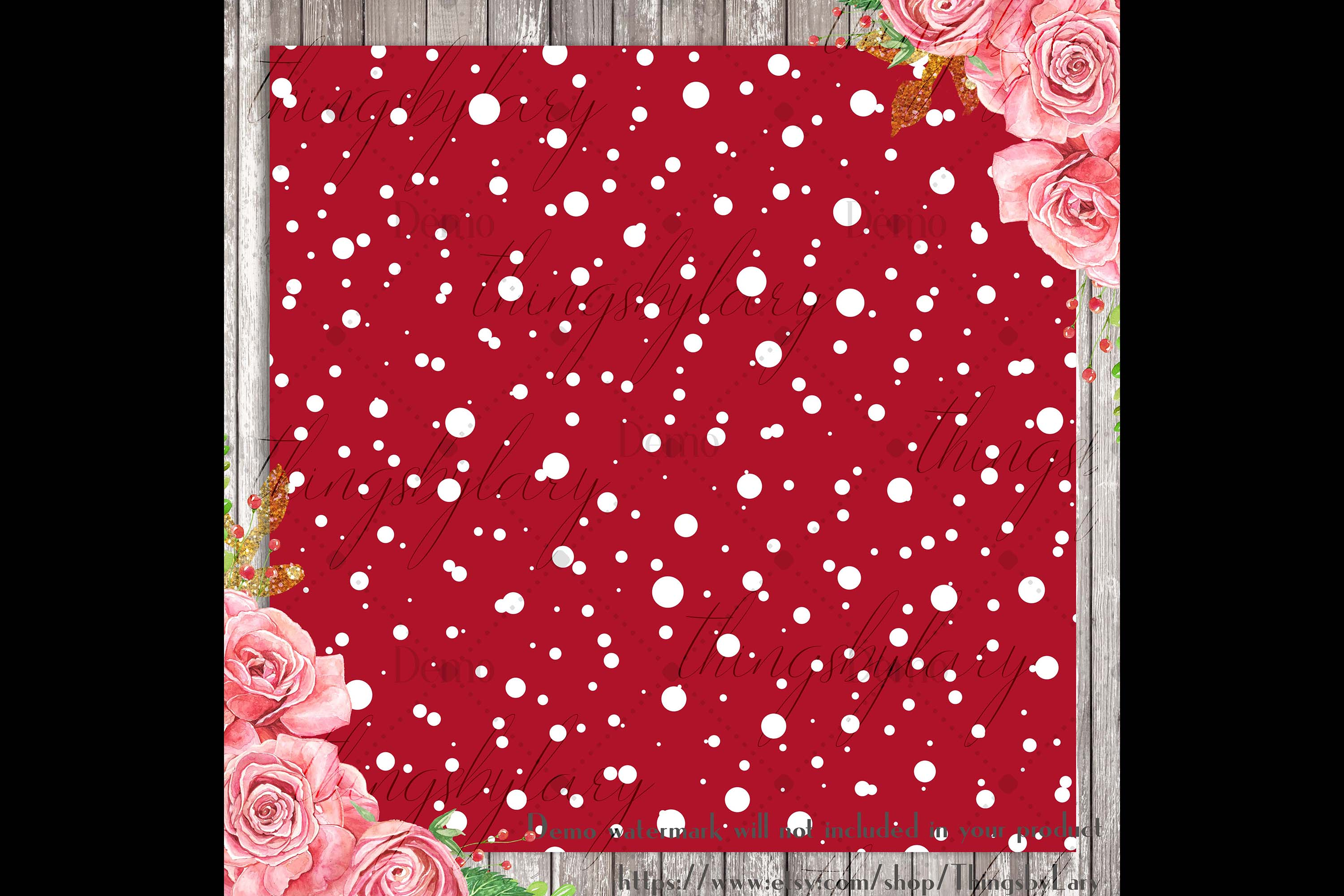 100 Seamless Falling Christmas White Snow Digital Papers example image 2