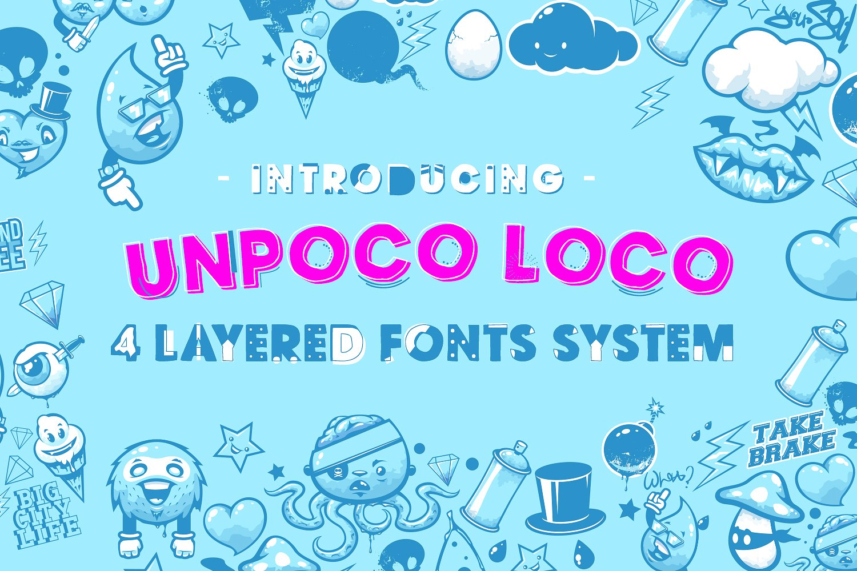 Unpoco Loco™ - 4 Layered Fonts example image 1