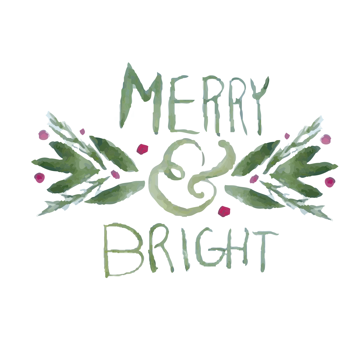 Merry & Bright watercolor clipart example image 2
