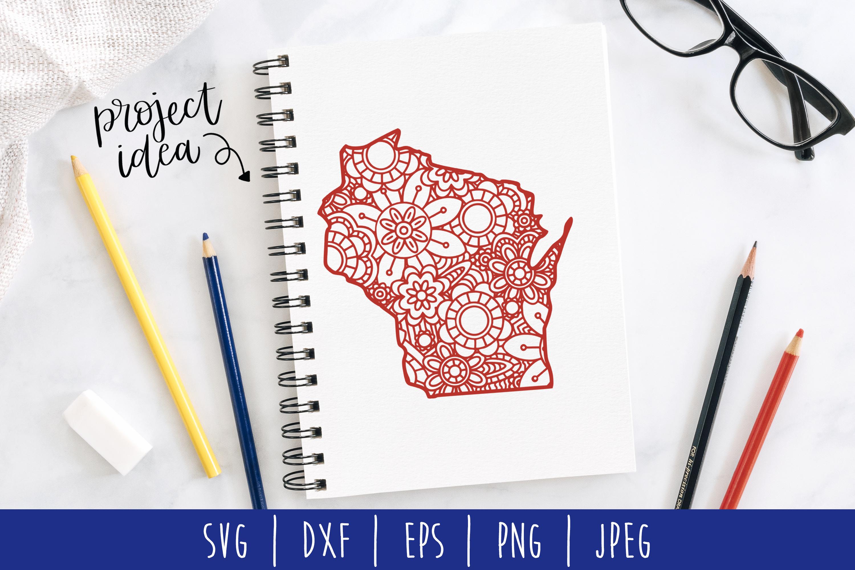 State Mandala Zentangle Bundle Set of 50 - USA SVG example image 7