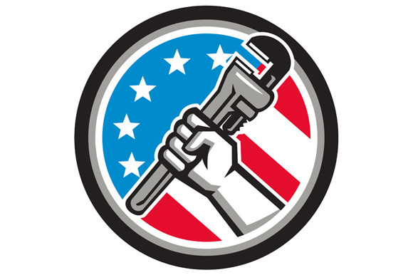 Plumber Hand Pipe Wrench USA Flag Side Angled Circle example image 1