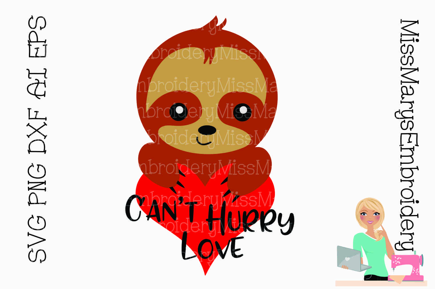 Can't Hurry Love Sloth SVG Cutting File PNG DXF AI EPS example image 1