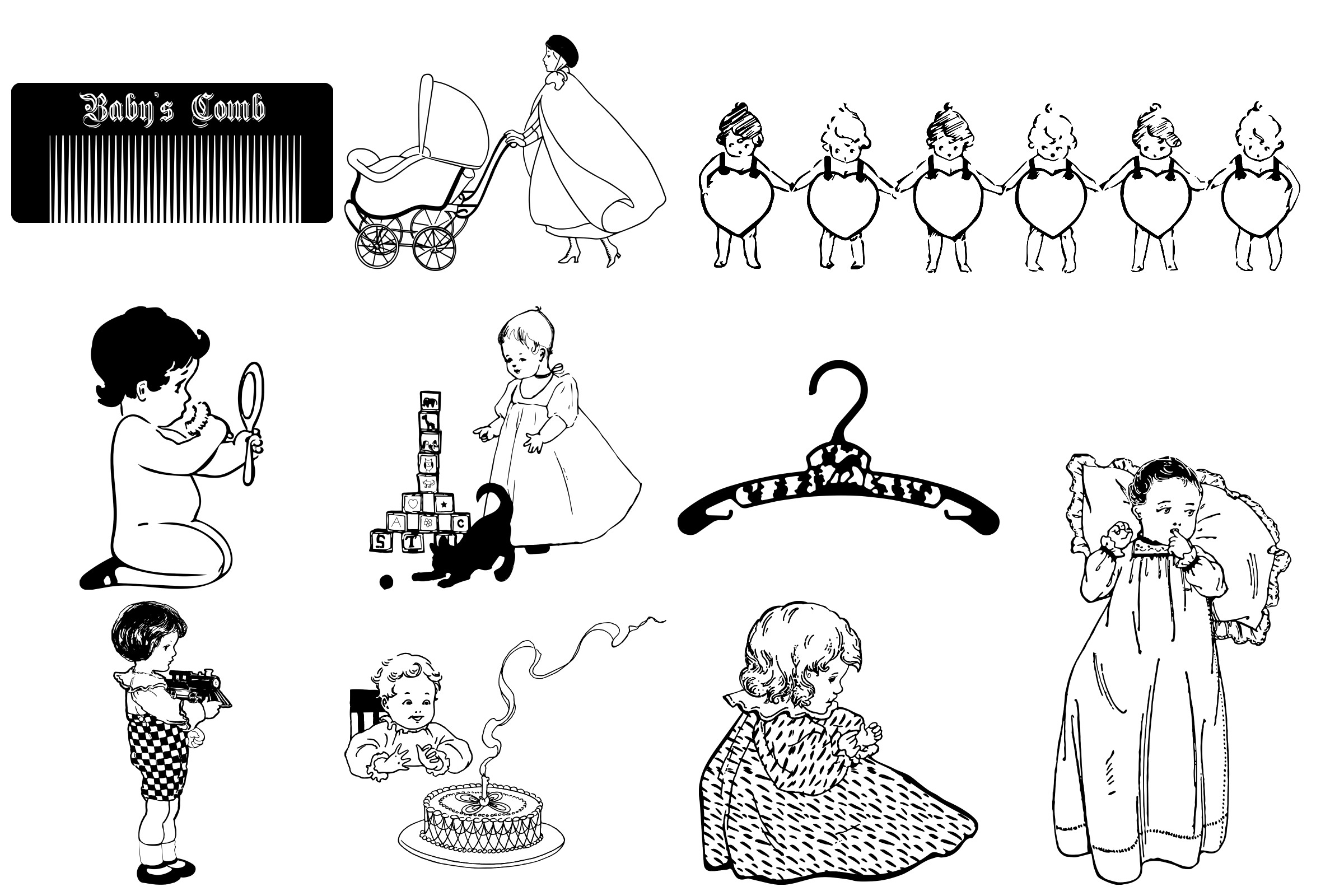 Vintage Babies, Toddles & Moms AI EPS PNG example image 4
