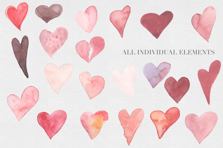 Watercolor Valentine Hearts example image 2
