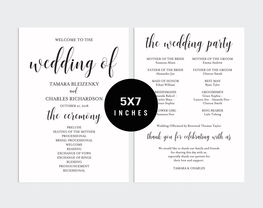 Wedding program fan example image 3