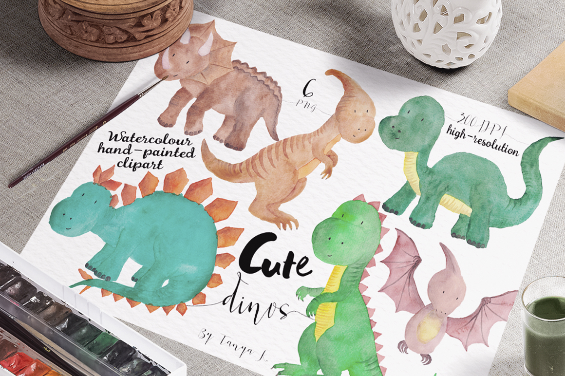 Cute Dinisaur Watercolor clipart example image 3