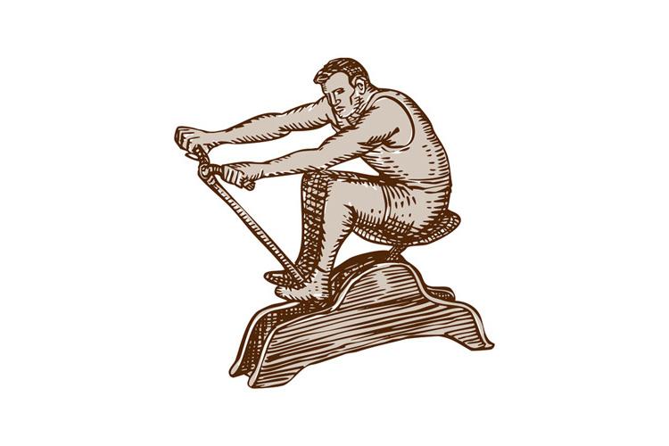 Athlete Exercising Vintage Rowing Machine Etching example image 1
