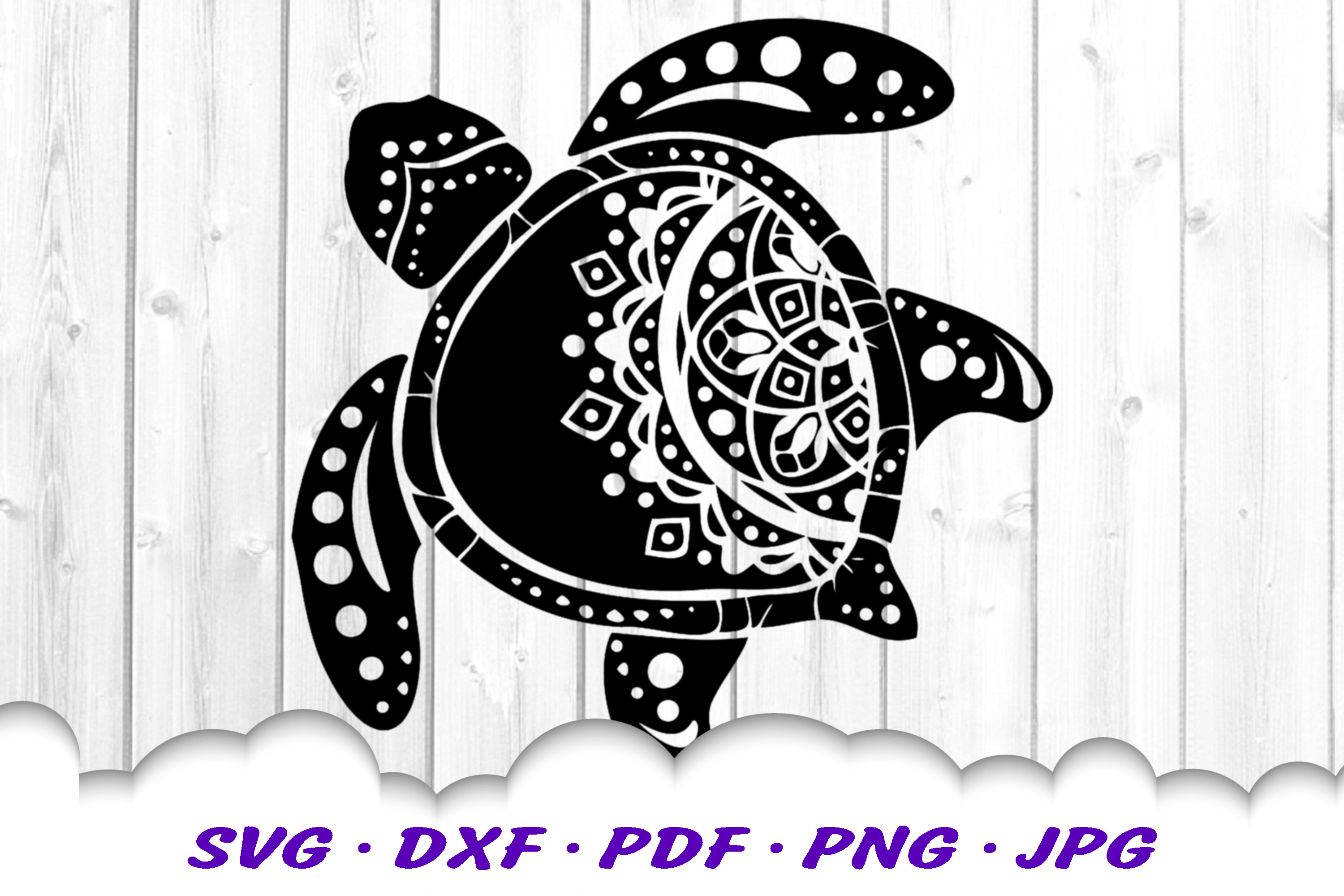 Mandala Sea Turtle SVG DXF Cut Files example image 2