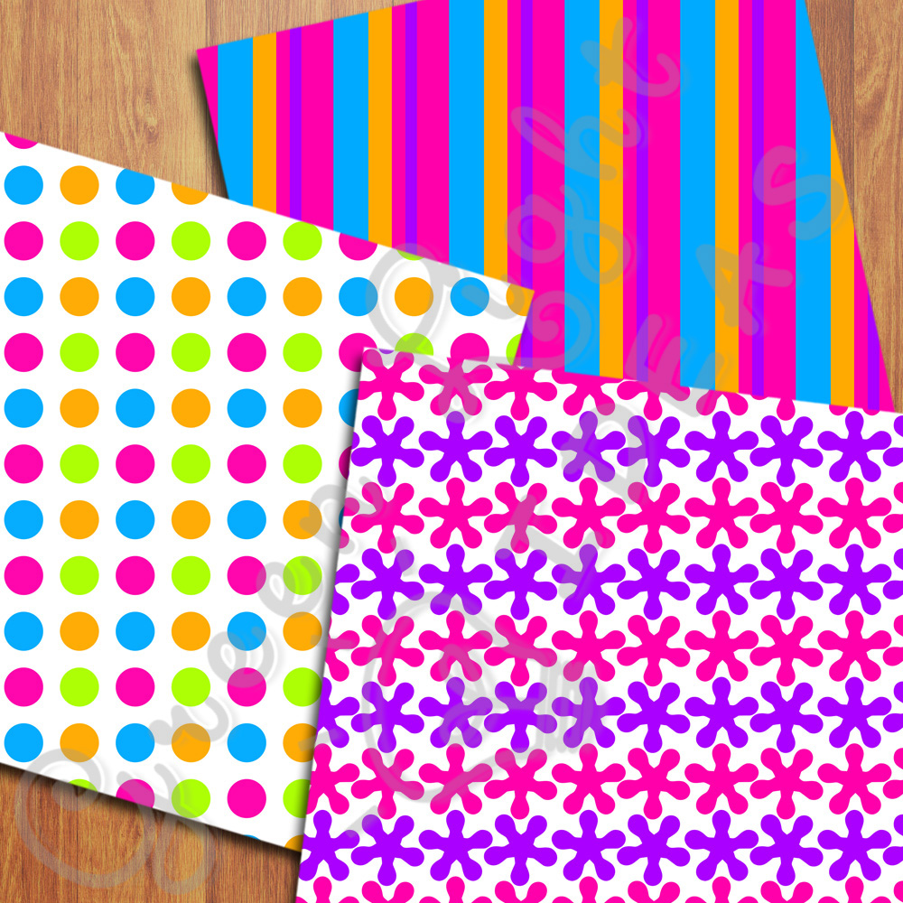 Bright Neon Digital Papers example image 5