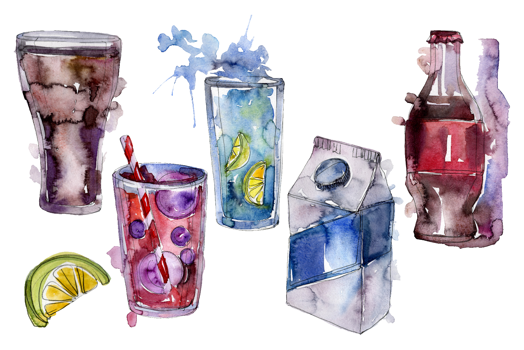 Gin Drinks Watercolor png example image 1