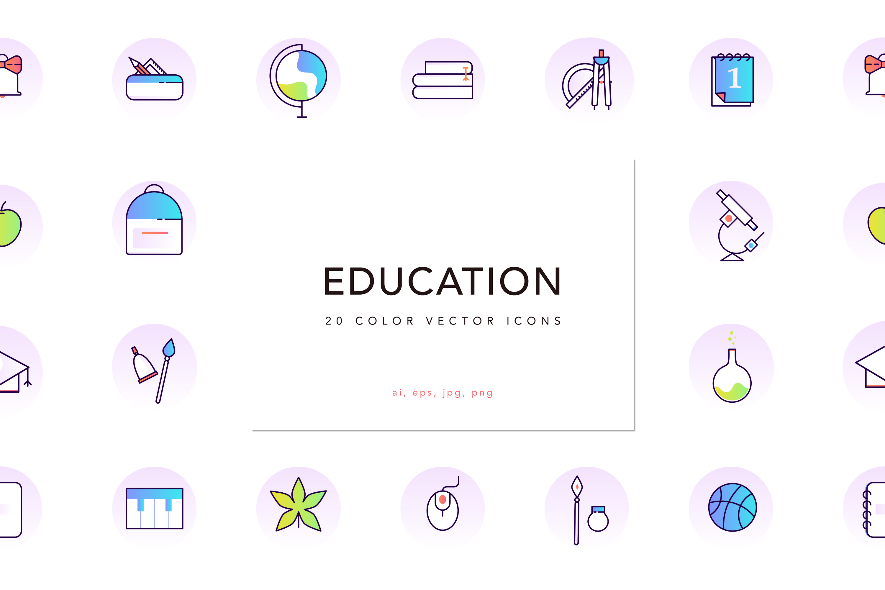 School & Education Color Line Icons example image 1