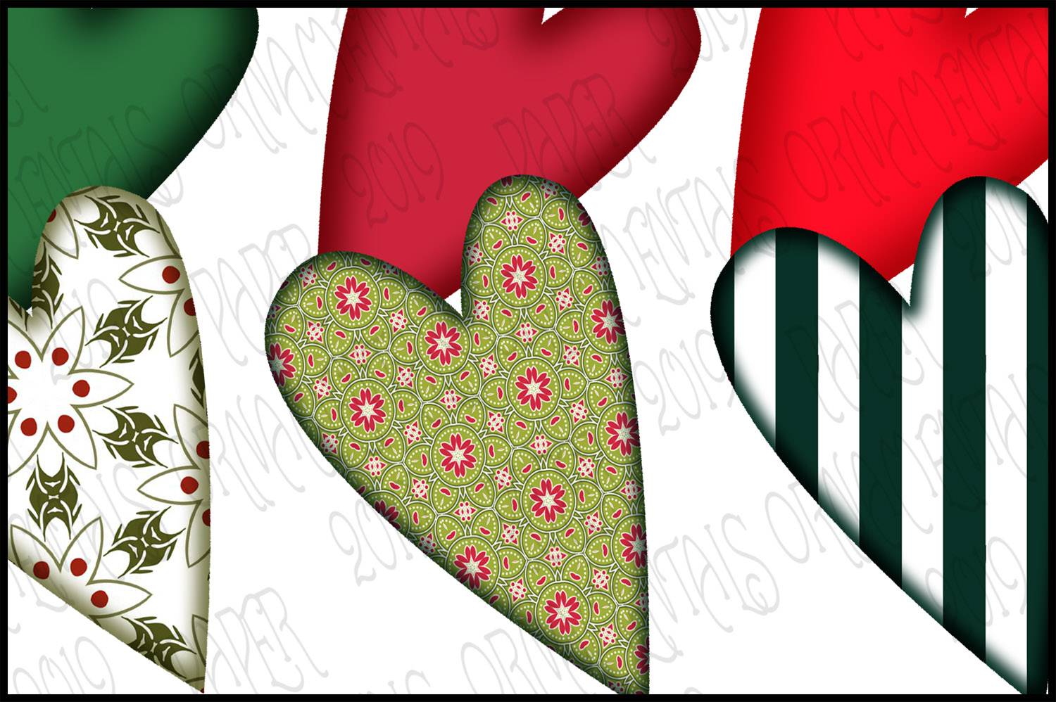 Christmas Clip Art, Holiday Primitive Hearts example image 3