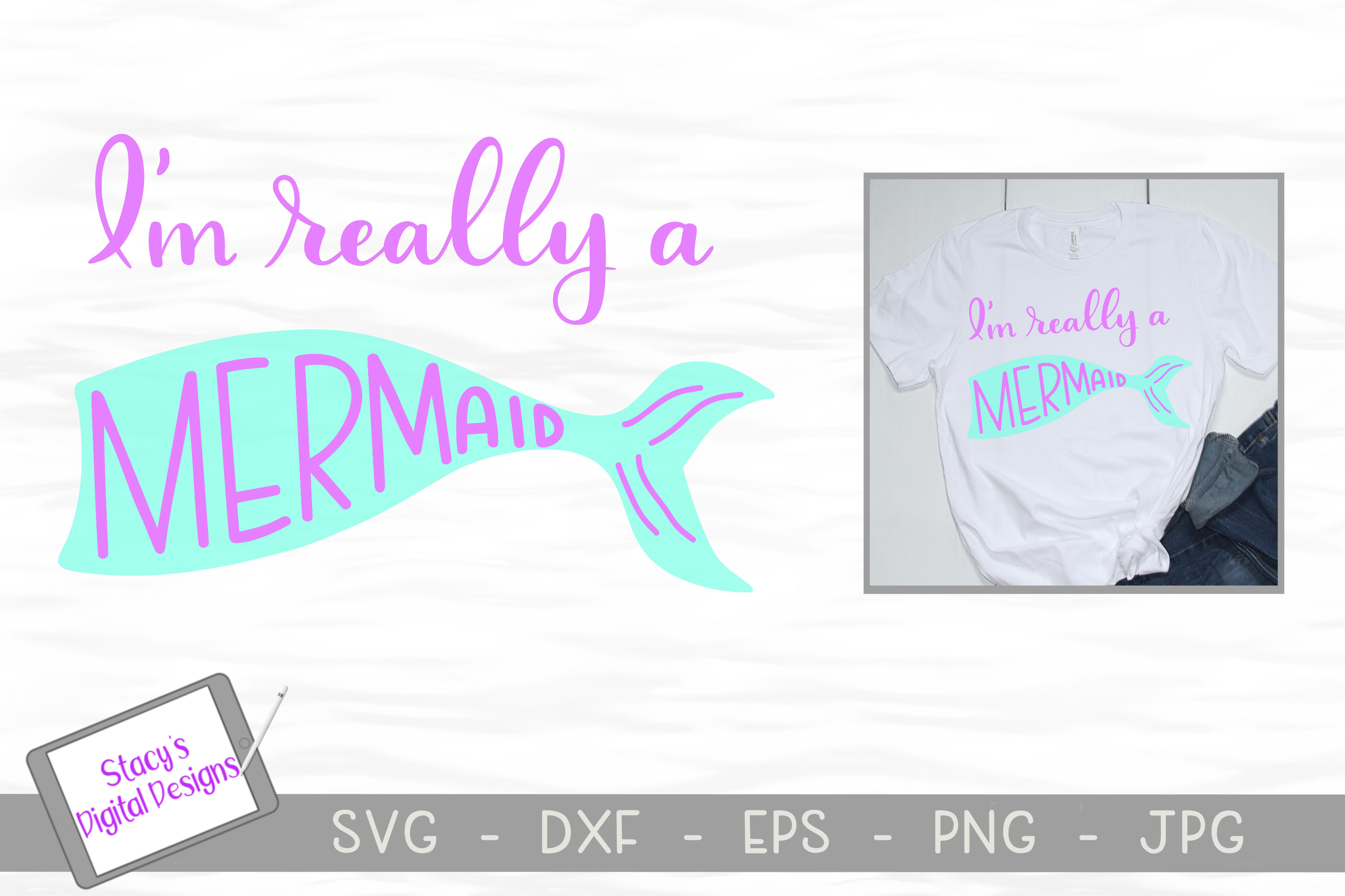 Mermaid SVG Bundle - 4 Mermaid SVG designs example image 4