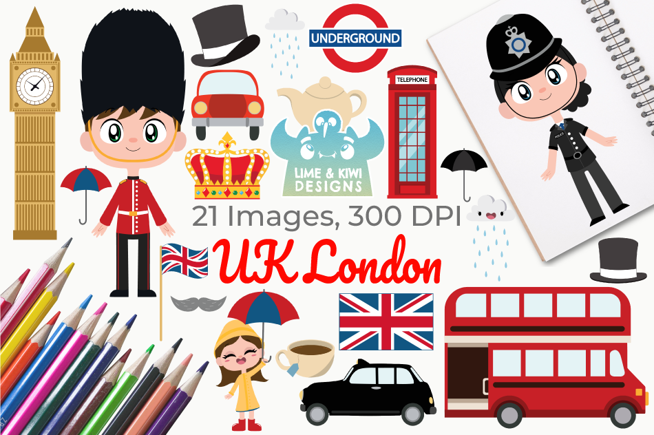 UK London Clipart, Instant Download Vector Art example image 1