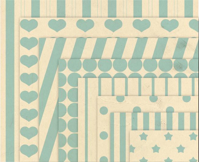 Baby Blue Digital Paper Vintage Geometric Background Patterns  example image 2