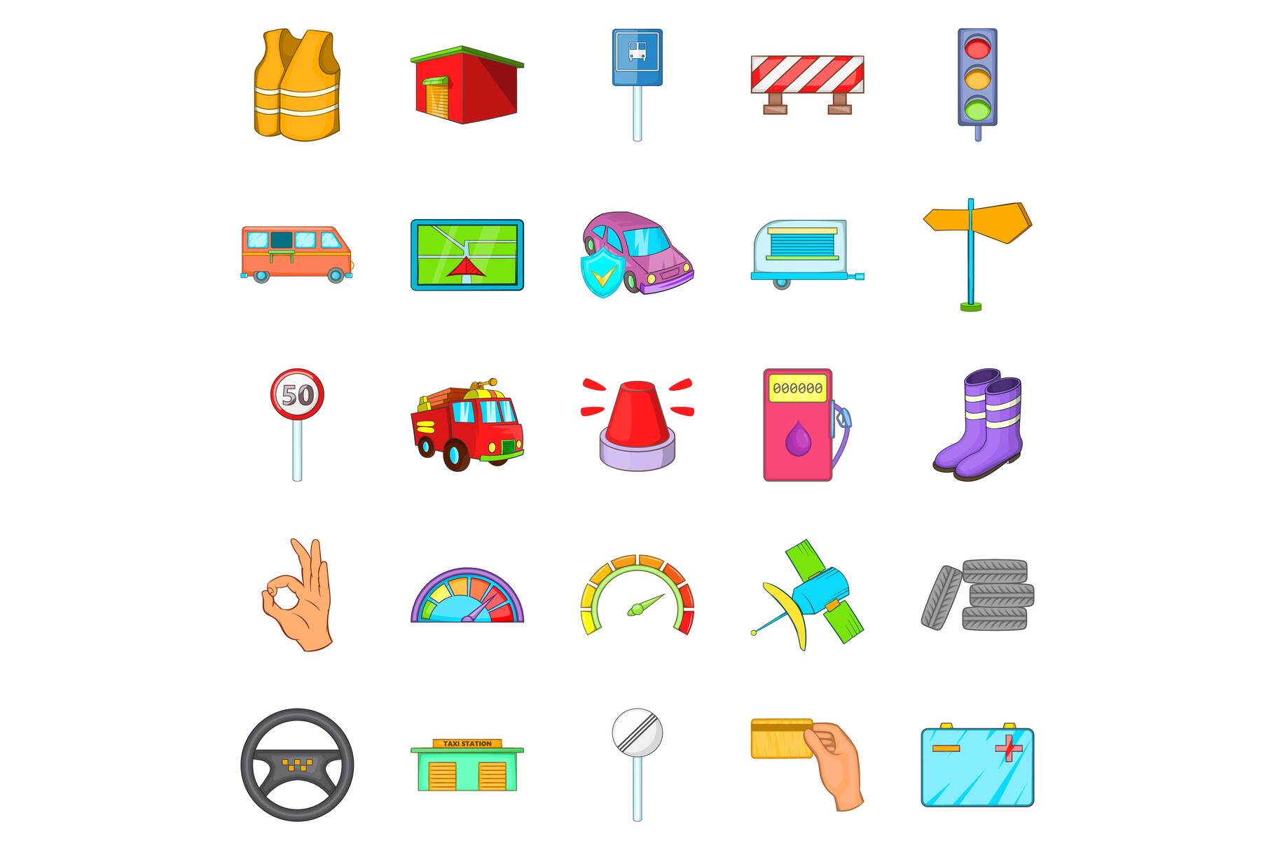 Lorry icons set, cartoon style example image 1