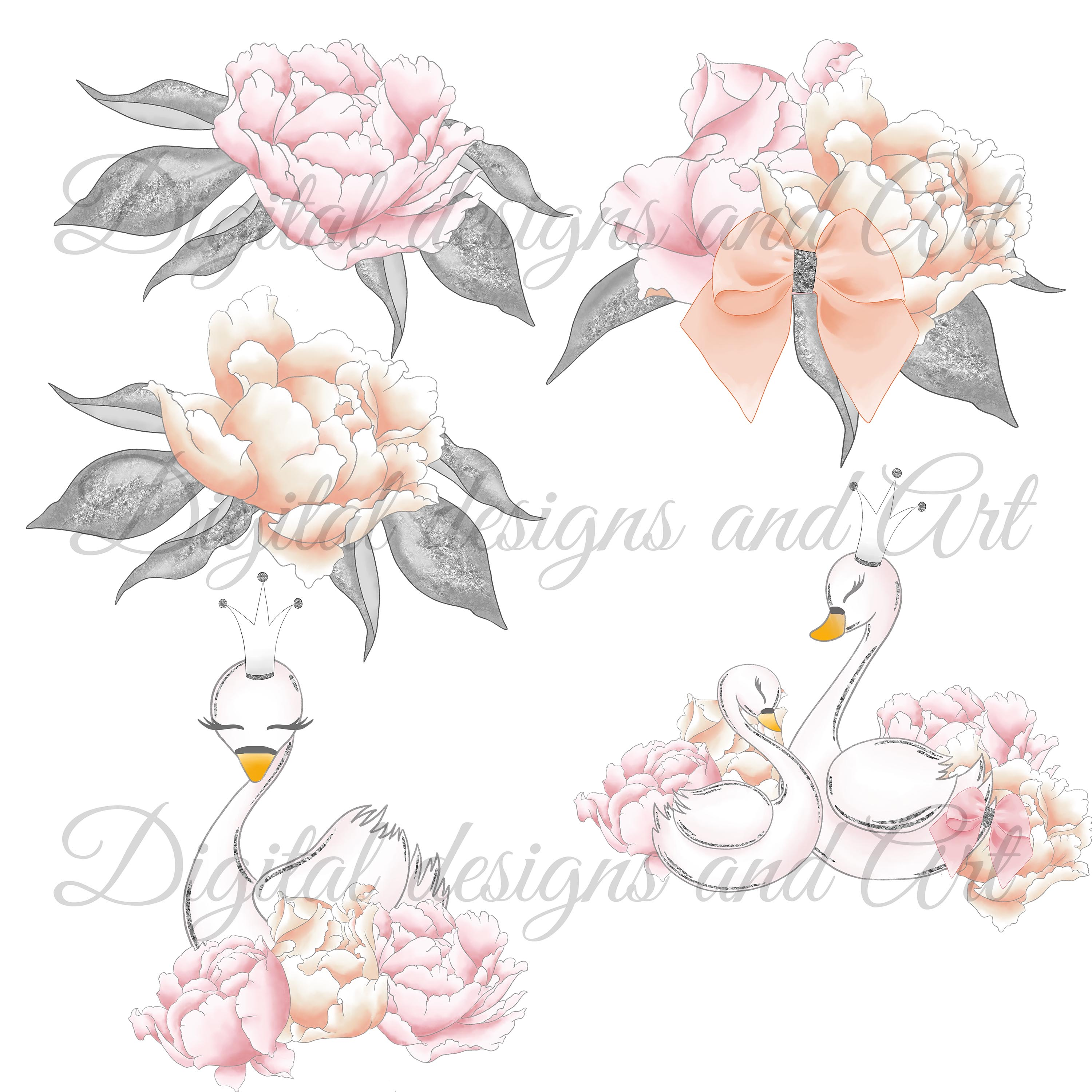 Wild swans clipart example image 6