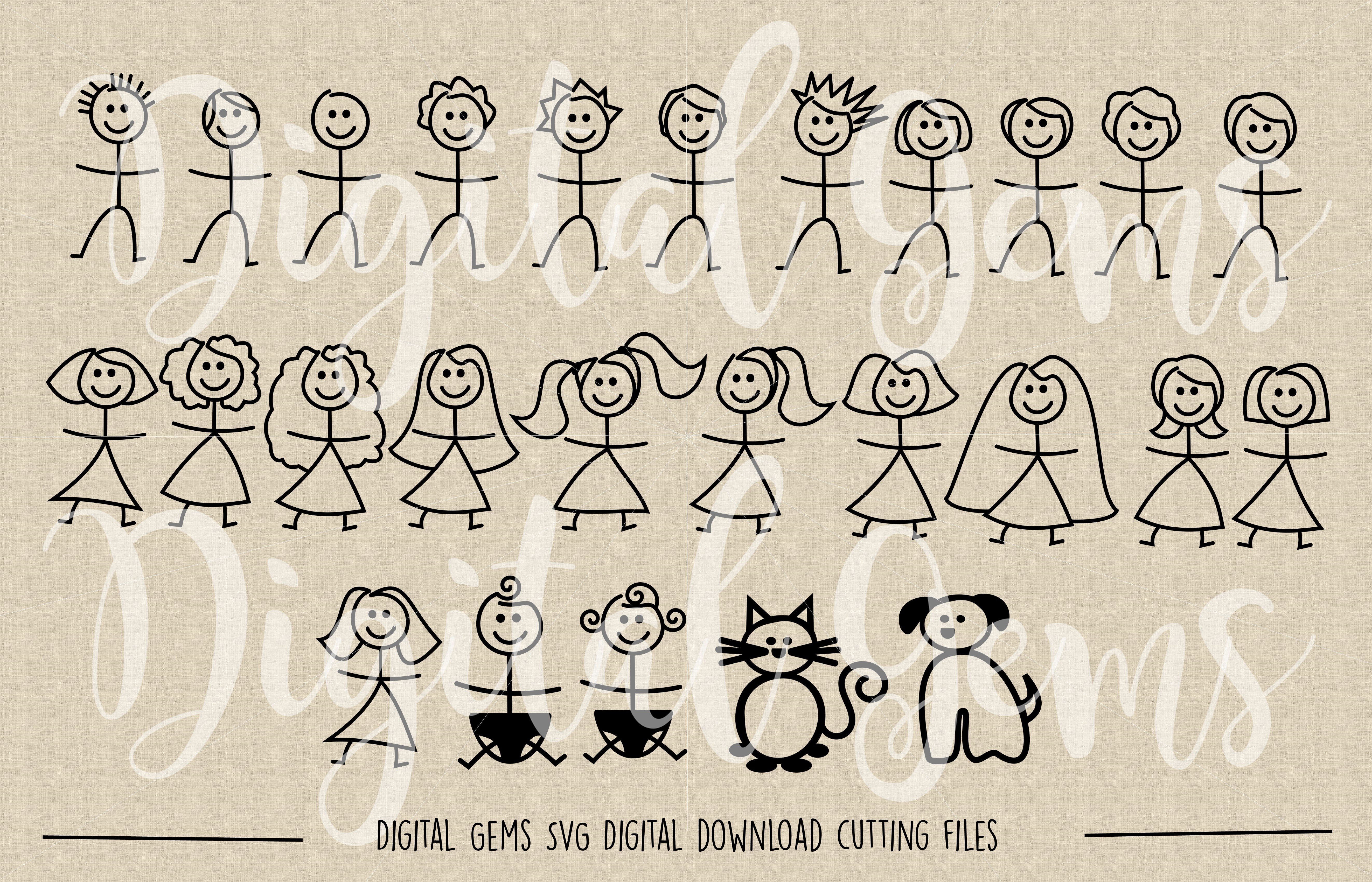 Stick figure people SVG / DXF / EPS / PNG files example image 2