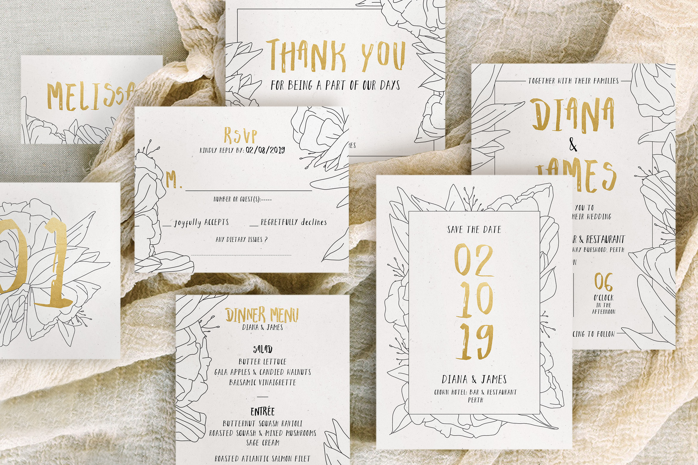 Simple Floral Outline Wedding Suite example image 2