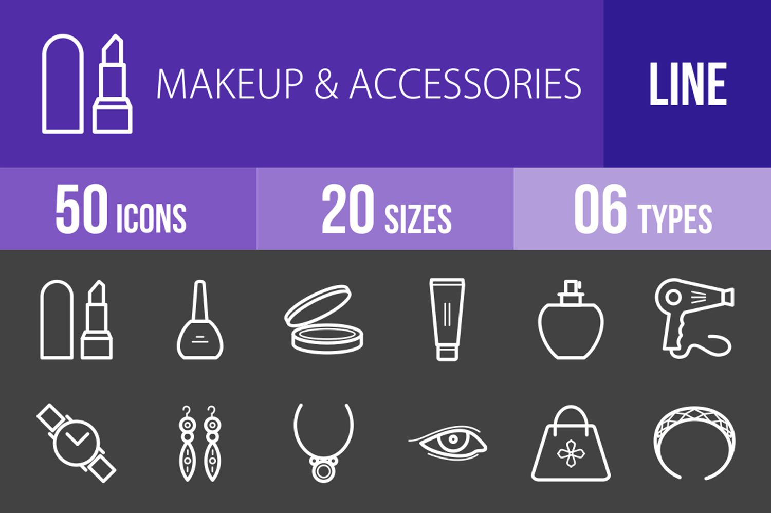 50 Makeup & Accessories Line Inverted Icons example image 1