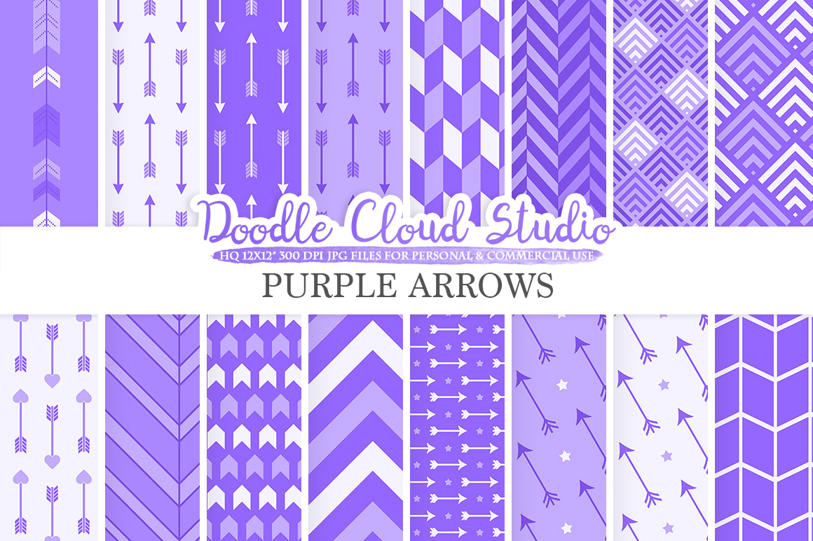 Purple Arrows digital paper, Violet Arrow patterns, tribal archery chevron triangles background, Instant Download, Personal & Commercial Use example image 1