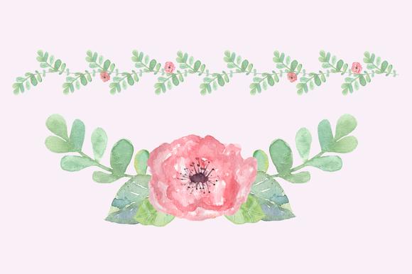 Watercolor Pastel Floral Clip Art example image 2