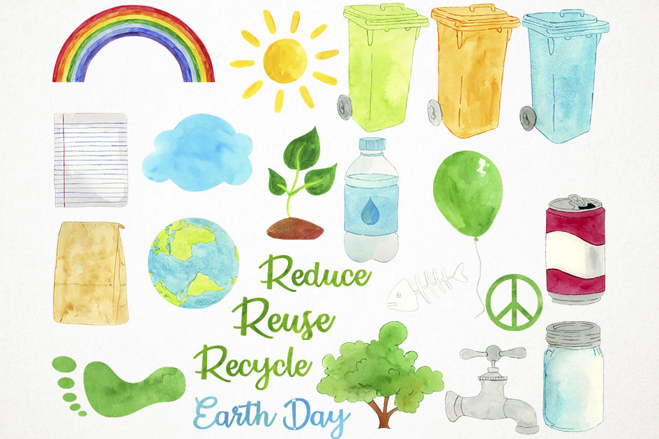 Watercolor Earth Day Clipart, Recycling Clipart, Ecology example image 3