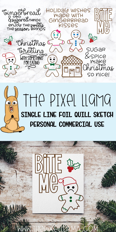 Gingerbread Bundle Single Line Sketch Designs example image 3