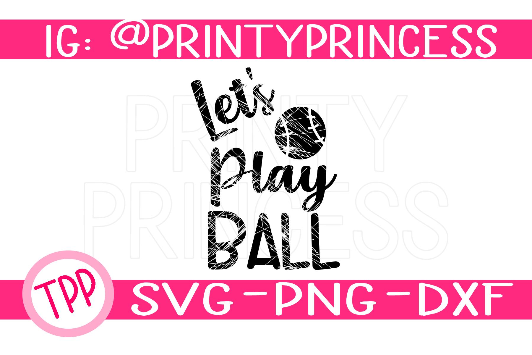 Distressed Baseball svg, Softball svg Let's Play Ball design example image 1