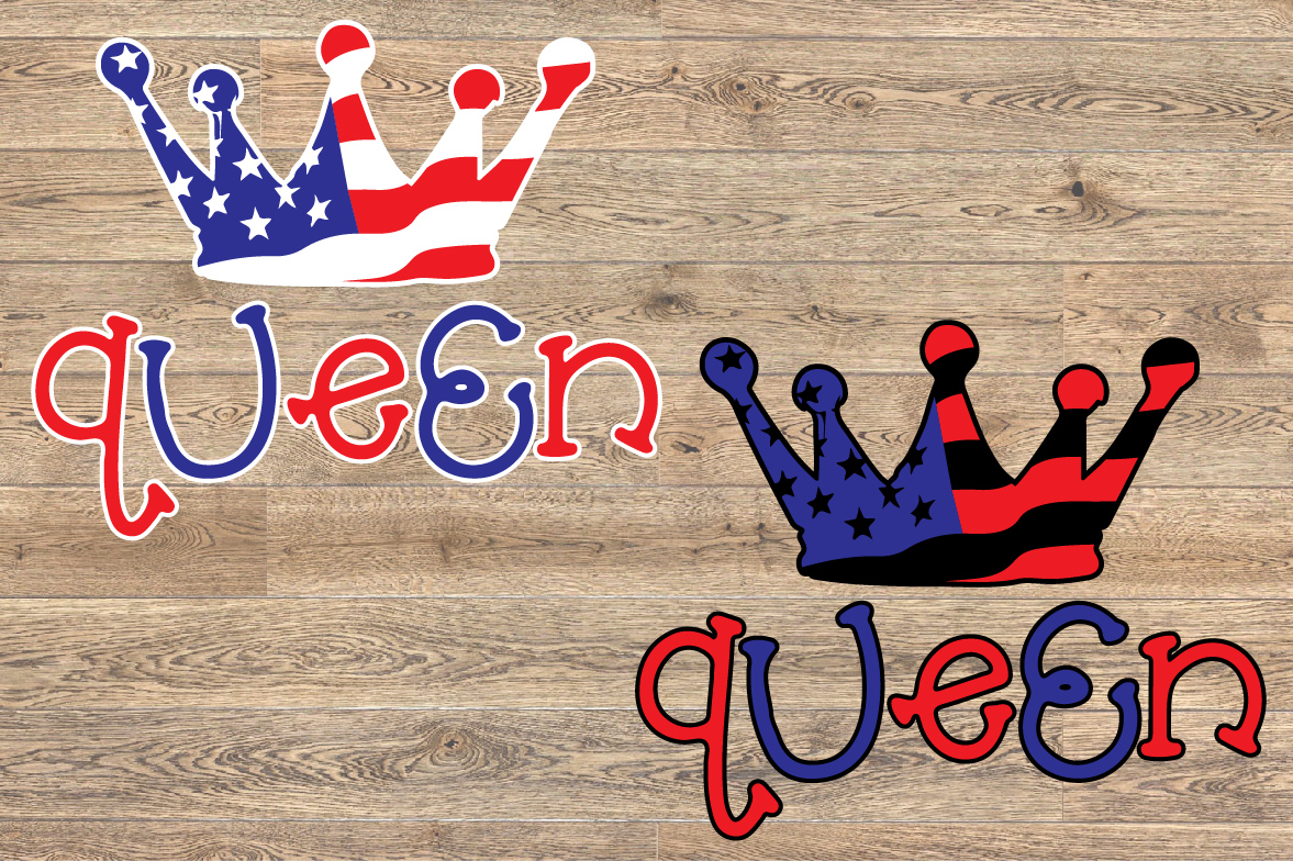 Queen Crown USA Flag SVG Royal 4th July Tiara 1265S example image 2