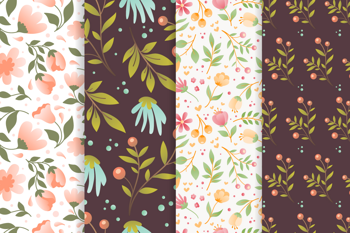 Meadow - 50 vector seamless patterns example image 5