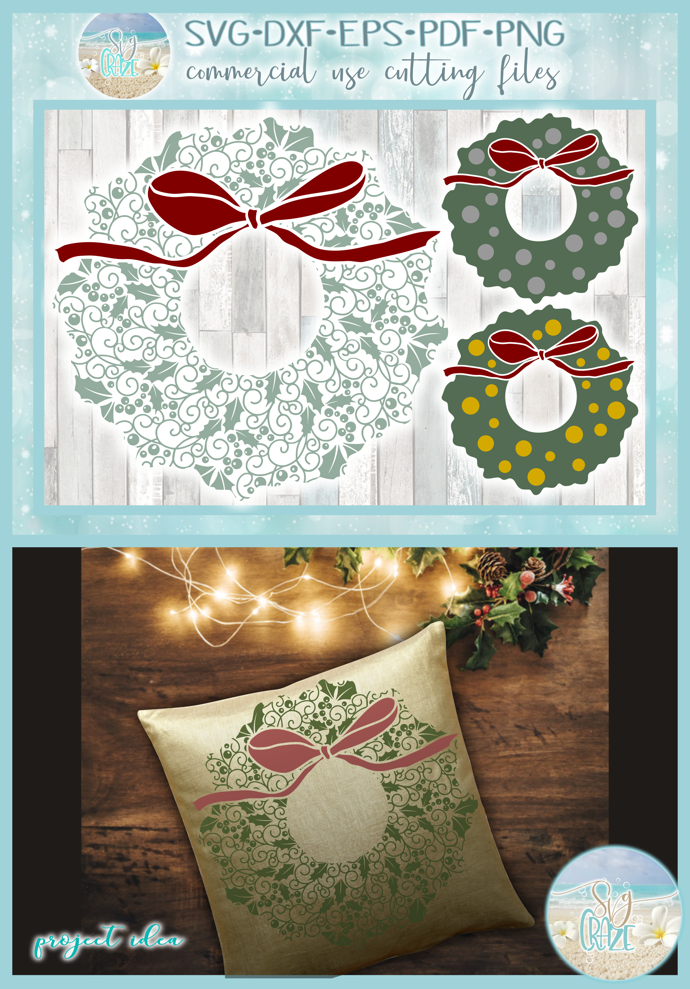 Christmas Wreath with Bow Mandala SVG Dxf Eps Png PDF files example image 4